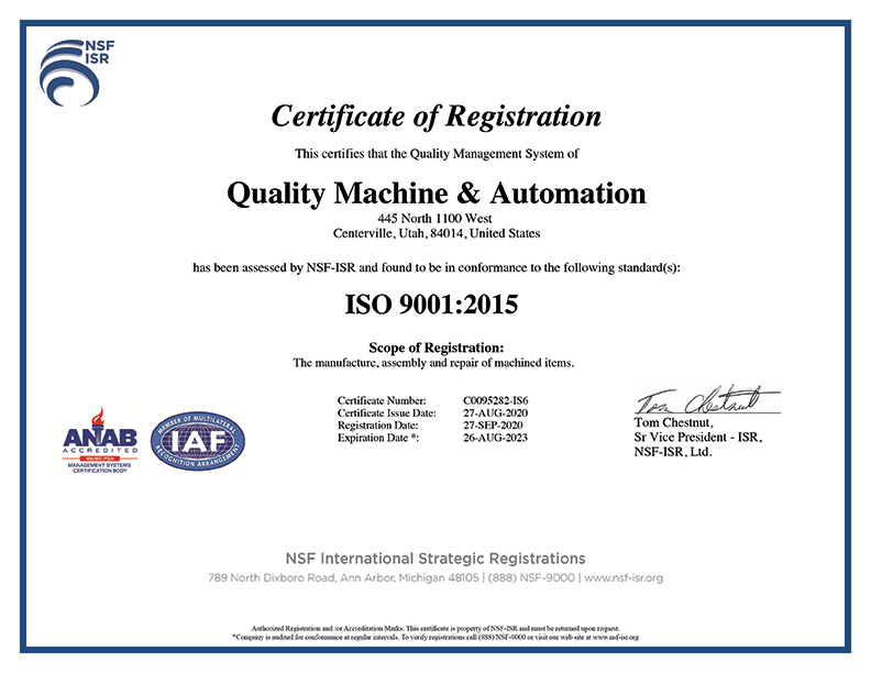 Machine Shop Utah Certification Quality Machine0Auctomation